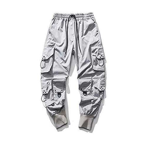 Hosen Herren Loose Trendy Brand Hip-Hop Hosen Kordelzug Overalls Grey-L