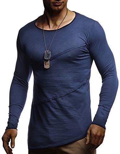 Leif Nelson heren shirt met lange mouwen ronde hals mannen lange mouwen sweater dunne trui sweatshirt pullover crew neck jongens T-shirt lange mouwen oversize LN1-80107