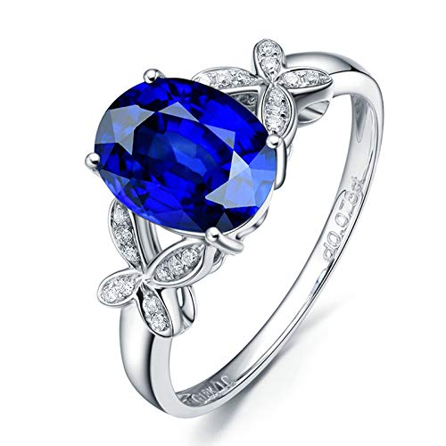 Socoz 18K White Gold Promise Ring Diamond,Natural Tanzanite Knot White Gold Wedding Rings in Gold for Women