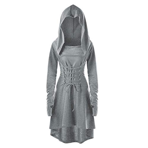 Why Choose Crazyfashion Women Costume Lace Hooded Vintage Pullover Bandage Long Dress Cloak Gray