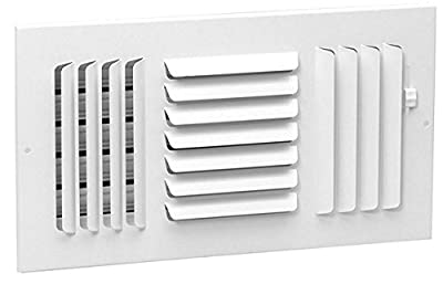 """16"""" X 6"""" 3-Way Fixed Curved Blade AIR Supply Diffuser - Vent Duct Cover - Grille Register - Sidewall or Ceiling - High Airflow - White"""