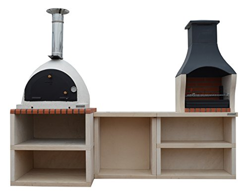 XclusiveDecor Napoli Outdoor Wood Fired Pizza Oven & Barbecue Grill Garden Combo Kitchen