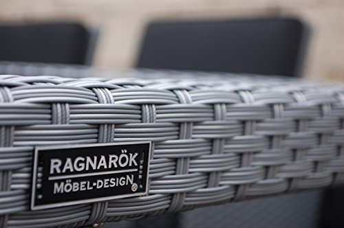 Ragnarök-Möbeldesign PolyRattan - DEUTSCHE Marke - EIGNENE Produktion - 8 Jahre GARANTIE auf UV-Beständigkeit Gartenmöbel Essgruppe Tisch + 6 Stühle & 4 Hocker 16 Polster Platinum Grau - 8
