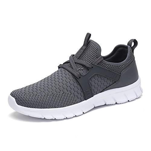 Mishansha Mens Breathable Athletic Fashion Sneakers Running Shoes Trail Gym Hiking Jogging Walking Indoor Grey 12.5 Women/11 Men