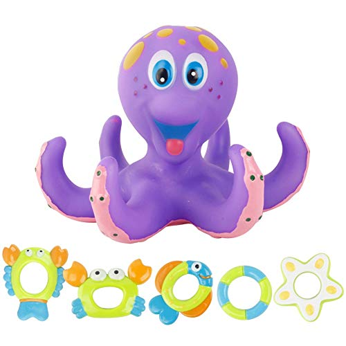 XKMY Juguete de baño flotante pulpo baño juguete hogar para niños verano seguro divertido cangrejo pescado bañera interactivo con anillos regalo piscina Accesorios