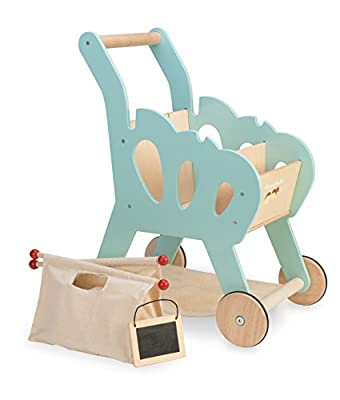 Le Toy Van Honeybake Collection Shopping Trolley with Bag Premium Wooden Toys for Kids Ages 3 Years & Up