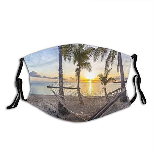 ALLMILL Paradise Beach mit Hängematte und Kokospalmen Horizon Coast Vacation Scenery Staubwaschbarer wiederverwendbarer Filter und wiederverwendbarer Mund Warmes winddichtes Baumwollgesicht