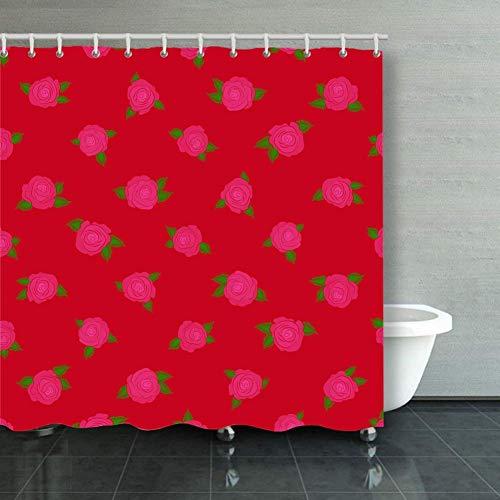 BGNHG Cortina de la Ducha Shower Curtain Wild Rose Design Hand Drawn B