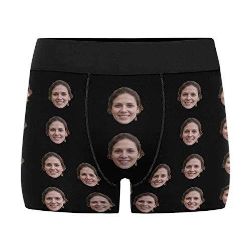 Custom Men's Print Boxer Briefs Underwear with Wife's Face Black