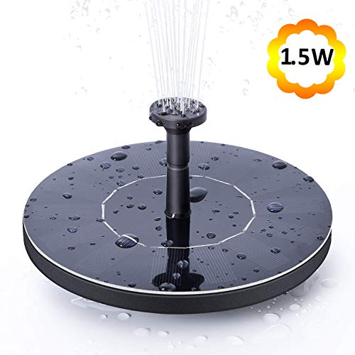 NANGOALA Solar Garden Water Fountain Pump, Free Standing Solar Powered Pond Pool Fountain Pump Kit, 1.5W Outdoor Submersible Floating Solar Bird Bath Fountain Pump for Garden, Patio & Lawn