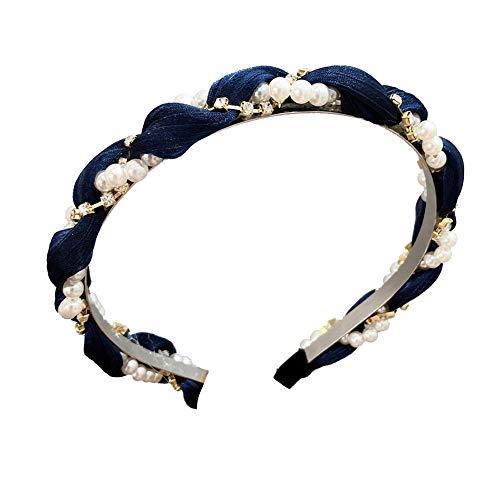 kafiGC8 Fascia per capelli ricamata con strass intarsiato per donna Blu navy