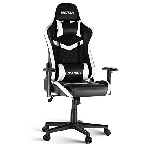 BHUTAN Gaming Chair Racing Office Chair Executive Ergonomic Swivel Task Chair PC Computer Desk Chair Reclining High Back with Retractable Arms Headrest&Lumbar Pillows(White, 1L)
