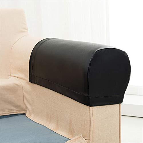 Abodos Cubierta de apoyabrazos de sofá, Alta elástico de la PU Simulación de Cuero Sofá Impermeable Cubierta de apoyabrazos General Anti-Fouring Furniture Cubierta Protectora,Negro