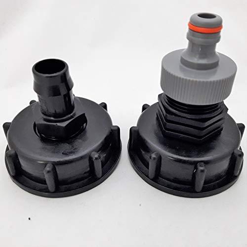CMTech GmbH CM196_135_99 + CM196_187 Lot de 2 adaptateurs pour réservoir d'eau de Pluie S60 x 6 cm