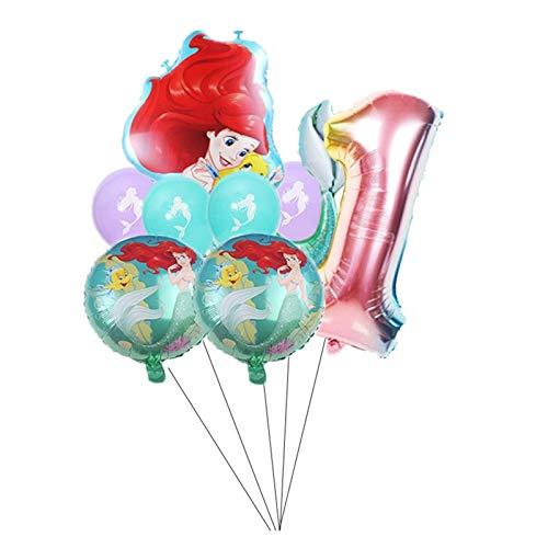 ZHEMAIDZ balloon Redhead Mermaid Aluminium Foil 32inch Number Balloon Set Birthday Weeding Party Decoration Supplies Cartoon (Color : 1)