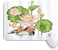 KAPANOUマウスパッド 蓮の花と池のゴム製のアヒルのアヒルの子 ゲーミング オフィス最適 高級感 おしゃれ 防水 耐久性が良い 滑り止めゴム底 ゲーミングなど適用 マウス 用ノートブックコンピュータマウスマット