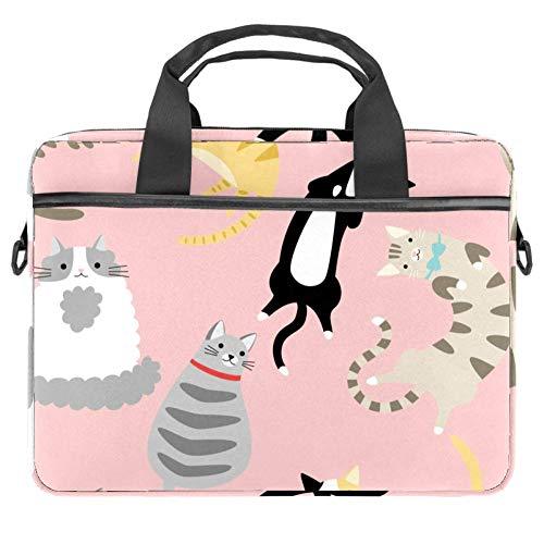 Laptop Shoulder Bag 15 Inch Briefcase Document Messenger Bag Business Handbag with Handle & Shoulder Strap Funny Cats Cartoon