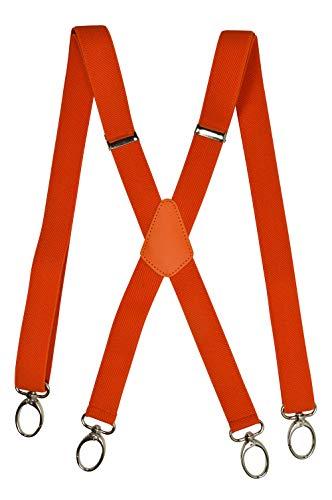 Hosenträger X-Form mit Karabinerhaken für Herren/Damen - Modell 'Skinny' 2.5cm. Orange