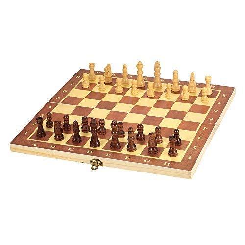 Lixada チェスセット 国際チェス 木製 エンターテイメントゲーム 折りたたみボード (褐色)