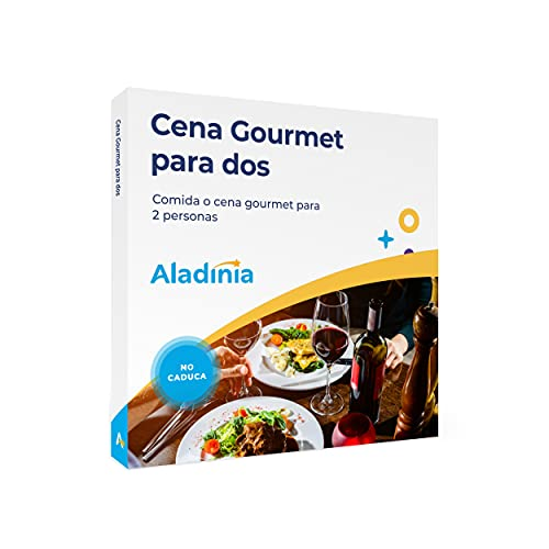 ALADINIA Cena Gourmet para Dos. Pack de experiencias para Regalar. Caja Regalo de Cena o Comida Gourmet para Dos Personas. No Caduca, Cambios de Experiencia Gratis e Ilimitados