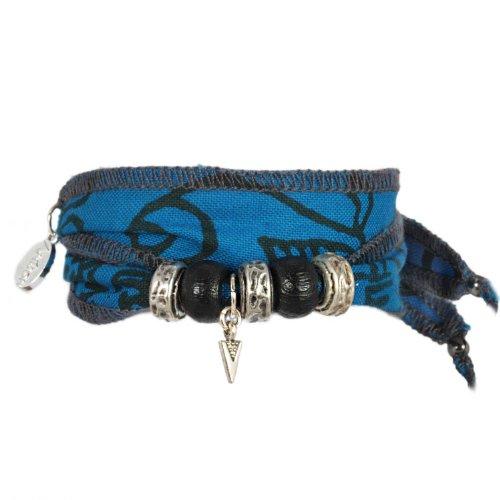 Anisch Hombre Herren Armband Space Arrow - Tibetan Wish Wunscharmband aus tibetischen Gebetsfahnen- tibetisches Glücksarmband - ArtNr. 93300-b