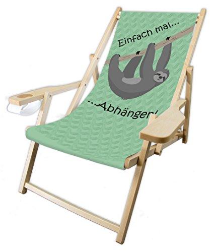 MultiBrands® Holz-Liegestuhl, mit Armlehne und Getränkehalter, klappbar, Faultier