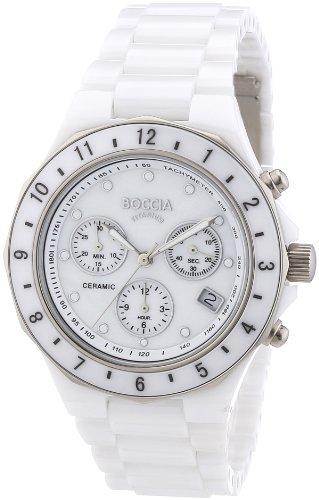 Boccia Damen-Armbanduhr XL Ceramic Chronograph Quarz Keramik 3765-01