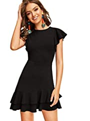 Fabric has some stretch Fit and flare silhouette ruffle short dresses with zipper Suit for casual, party, office, home and daily wear Garment Care: Hand wash, machine wash and hang dry, do not use bleach Please check our size chart to match yourself