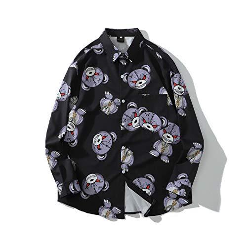 Camisas para Hombre Tendencia de Primavera y otoño Personalidad de la Moda Impresión Camisas de Solapa de Hip-Hop Camisa Popular Europea y Americana Cardigans M