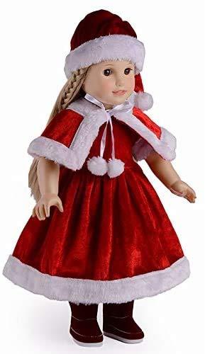 XinYiC Ropa de Navidad para muñecas de 45,72 cm, gorro de Papá Noel con chal rojo lindos accesorios de Navidad