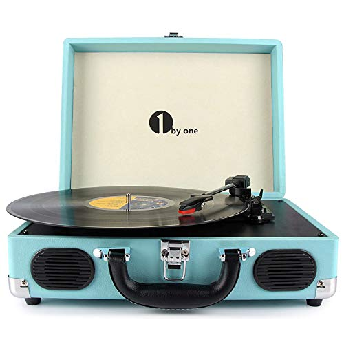 1byone Wireless Turntable HiFi System with 36 Watt Bookshelf Speakers, Vinyl Record Player with...