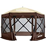 MASTERCANOPY Escape Shelter, 6-Sided Canopy Portable Pop up Canopy Durable Screen Tent Bug and Rain Protection (6-8 Persons), (120''x120'', Beige&Coffee)