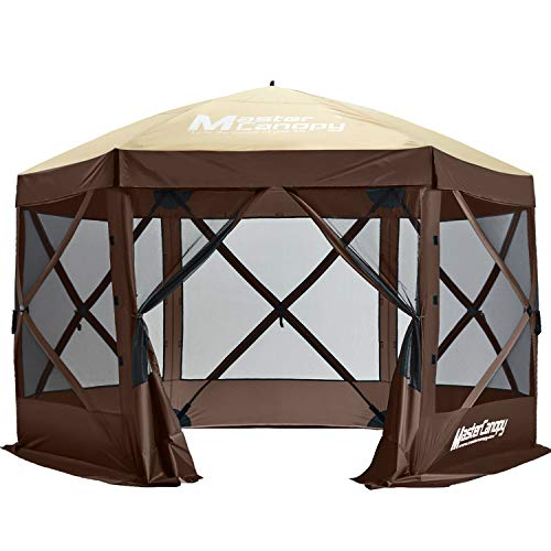 MASTERCANOPY Escape Shelter Screen House Outdoor Camping Tent for 6 Sides Canopy Shelter (140''x140''Beige&Coffee)