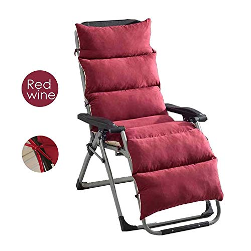 XNDCYX Chamois Sun Lounger Cushion, 61-Inch Lounge Chair Cushion, Indoor/Outdoor Chaise Lounge Cushions, Detachable and Washable, Garden Patio Recliner Cushions,Red