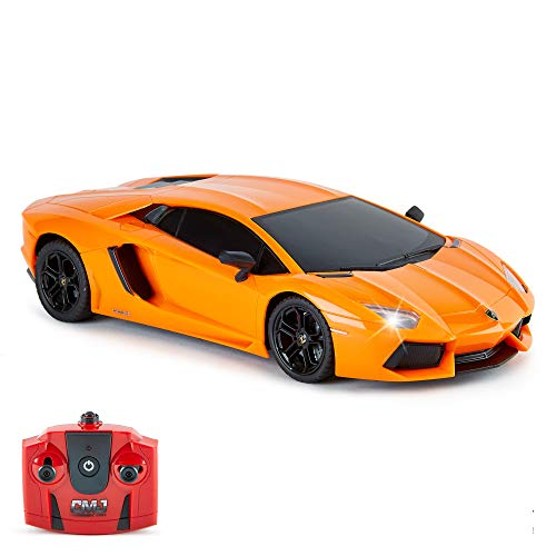 CMJ RC Cars ™ Lamborghini Aventador Coche de Control Remoto con Licencia Oficial Coche 1:18 Escala Luces de Trabajo 2.4Ghz Naranja