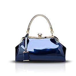 Tisdaini® Sacs portés Main Femme Tendance Vernis Diamant Cabas Sacs portés épaule Sacs bandoulière Sac a Main Bleu