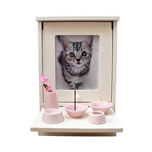 ペット仏壇セット メモリアルハウス ボックス ホワイト 仏具8点セット 磁器 仏具 (ピンク)