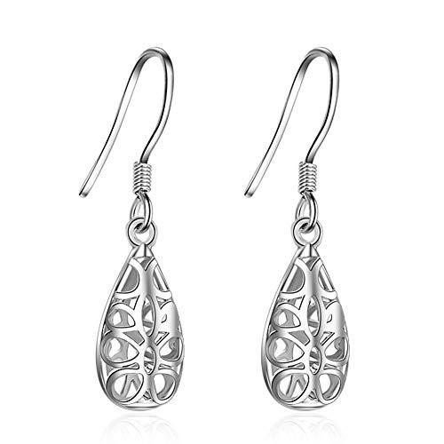 925 Sterling Silver Plated Celtic Knot Hollow Teardrop Earring Water drop Tassel Dangle Earrings