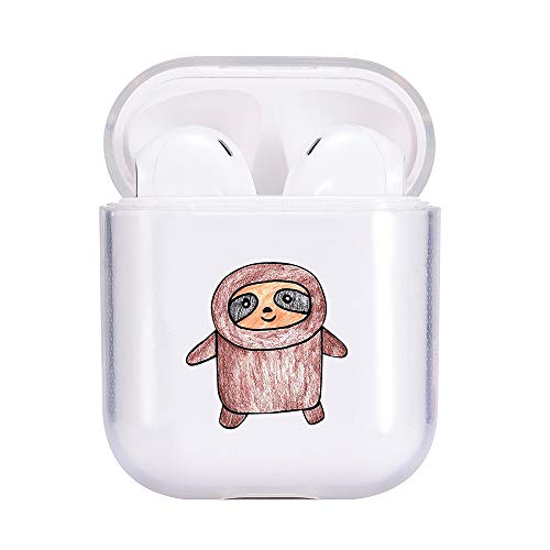 idocolors Cute Cartoon Cases for Airpod Clear Animal Pattern Soft TPU Cover for Kids & Boys & Girls Protective for Apple Airpods 2&1(2019) - Kawaii Sloth