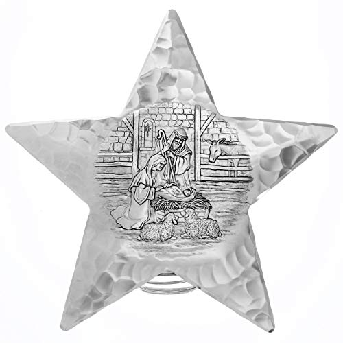 """Wendell August Forge Nativity Scene Star Tree Topper, 10"""" Tall – A Classic Star Displays the Christmas Miracle – Intricately Detailed Hand-Hammered Aluminum Tree Decoration – Made in USA"""