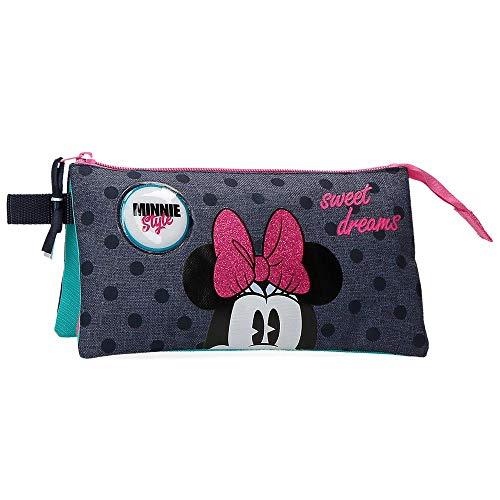 Disney Sweet Dreams Minnie Estuche Tres Compartimentos, color Azul