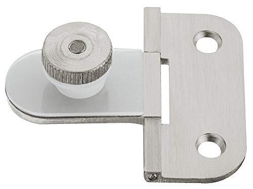 Gedotec glazen deurscharnier voor deurmontage met gat | scharnier vernikkeld mat | openingshoek 170 ° | meubelscharnier voor binnenaanslag | 2 stuks - deurscharnier voor meubel-glazen deuren modern 1 Stück - Nickel matt Nikkel mat geborsteld