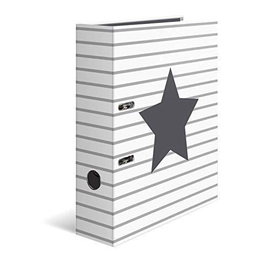 HERMA 7191 Motiv-Ordner DIN A4 Sterne - Weiß gestreift, 7 cm breit aus stabilem Karton mit hochwertigem Innendruck, Ringordner, Aktenordner, Briefordner, 1 Ordner