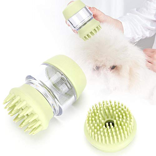 Cepillo de champú para Mascotas de Pelo Largo para Perros, Cepillo de baño para Perros, para Cabello seco o húmedo para Mascotas para baño y Masaje de Mascotas(Matcha Green)