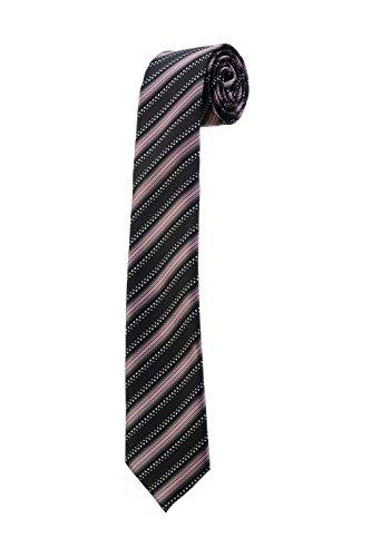 Oh La Belle Cravate Cravate fine slim à rayures noir blanc rose mariage DESIGN RTS