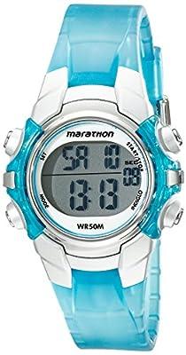 Marathon by Timex Unisex T5K817 Digital Mid-Size Light Blue/Silver-Tone Resin Strap Watch from Timex