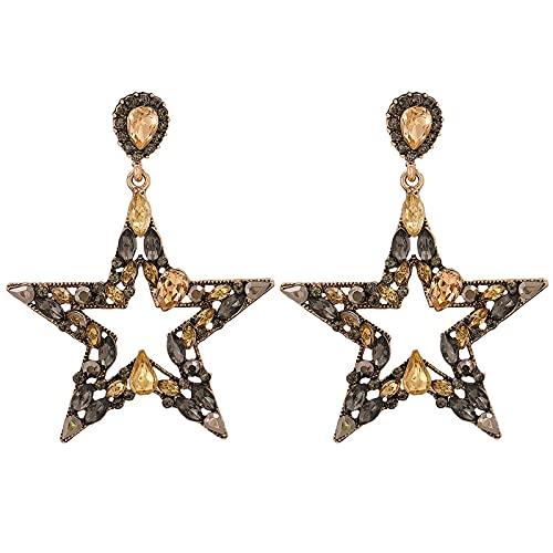 Pendientes colgantes con colgante de estrella de cristal para mujer, joyería de moda, pendientes llamativos para niñas, accesorios