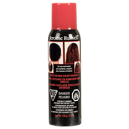 Jerome Russell Spray-on Color Dark Brown Hair Thickener, For Fine and Thinning Hair, Conceals Bald Spots, Grey Hair, Hides Root Re-growth, and Cover Hair Extension Tracks, Works for Men and Women, 3.5 oz (103ml)
