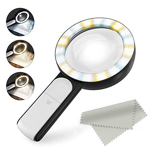Lupa 30X, Lente de Aumento con 18 Luces LED,NOMIOU Lupa de Vidrio de 100 mm con 3 Modos, Lupa Iluminada para Lectura...