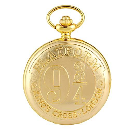 Gouden Quartz Pocket Horloge voor Mannen, Platform Negen en Drie Quarters Patroon Pocket Horloges voor Meisjes, Utility Slim Chain Hanger Horloge voor Tieners